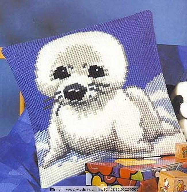 白色海豚十字绣免费下载 抱枕 十字绣 图纸 十字绣重绘抱枕图纸 十字