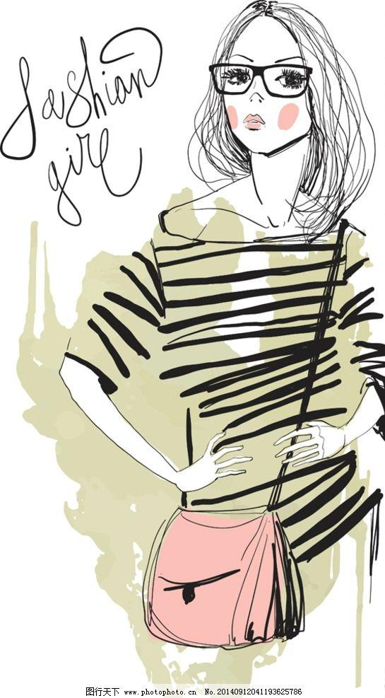 手绘少女 简笔画插图 手绘美少女