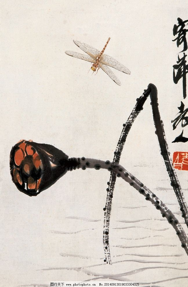 荷花蜻蜓 国画 齐白石 蜻蜓 莲蓬 荷花 荷韵 红荷 绘画书法 文化艺术