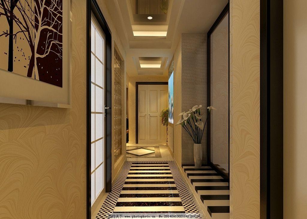 别墅过道效果图 别墅效果图 过道 别墅过道        室内设计 中式 3d
