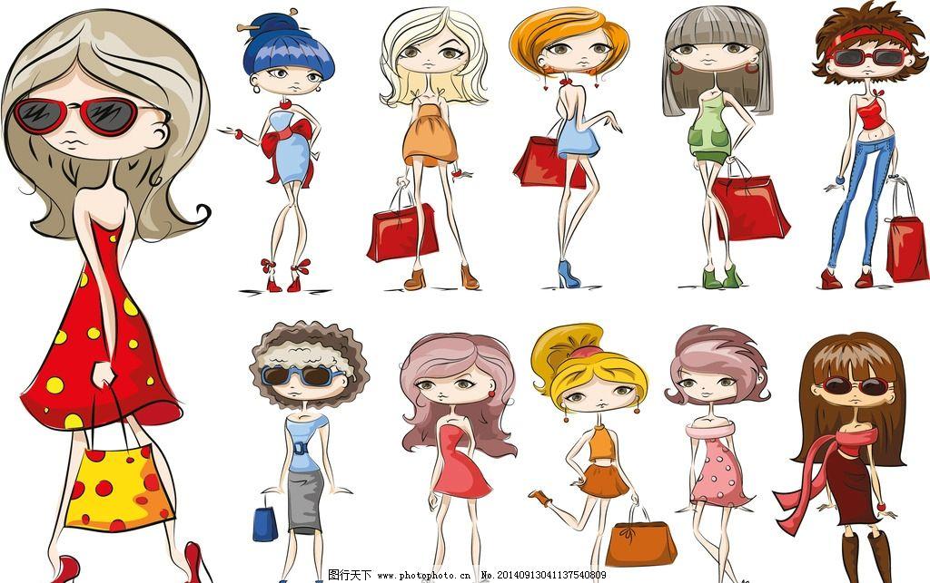 少女 美丽 浪漫 手绘 女性 女子 可爱 素描 时尚女孩 速写插图 女生