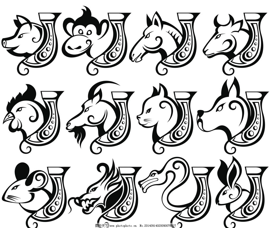 生肖模板下载 生肖 十二生肖 卡通十二生肖 手绘十二生肖 野生动物
