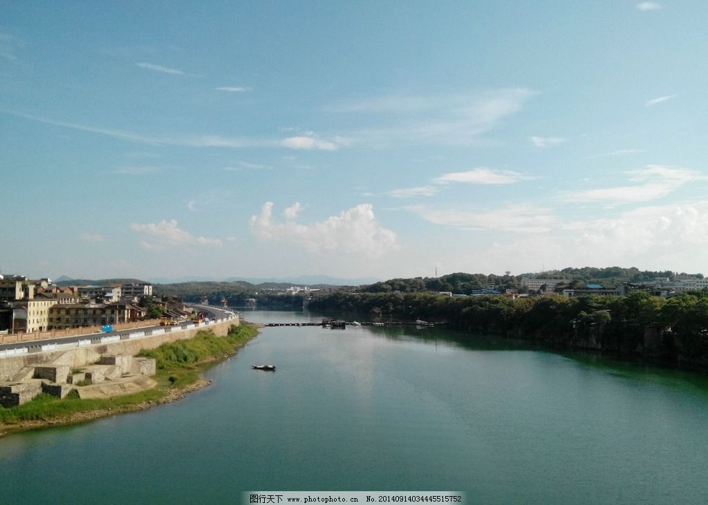 潇水 风景 江河 蓝天 白云 城郊 山水风景 自然景观 摄影