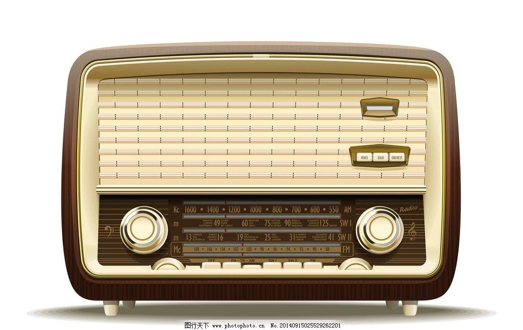 收音机 音频设备 手绘 功放 录音机 逼真 矢量