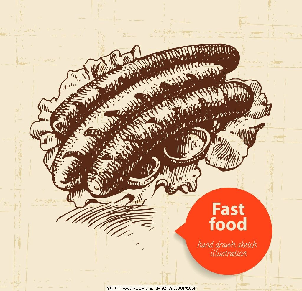 手绘食物 手绘 线稿 热狗 快餐 插画 速写 素描 食物 咖啡厅 西餐
