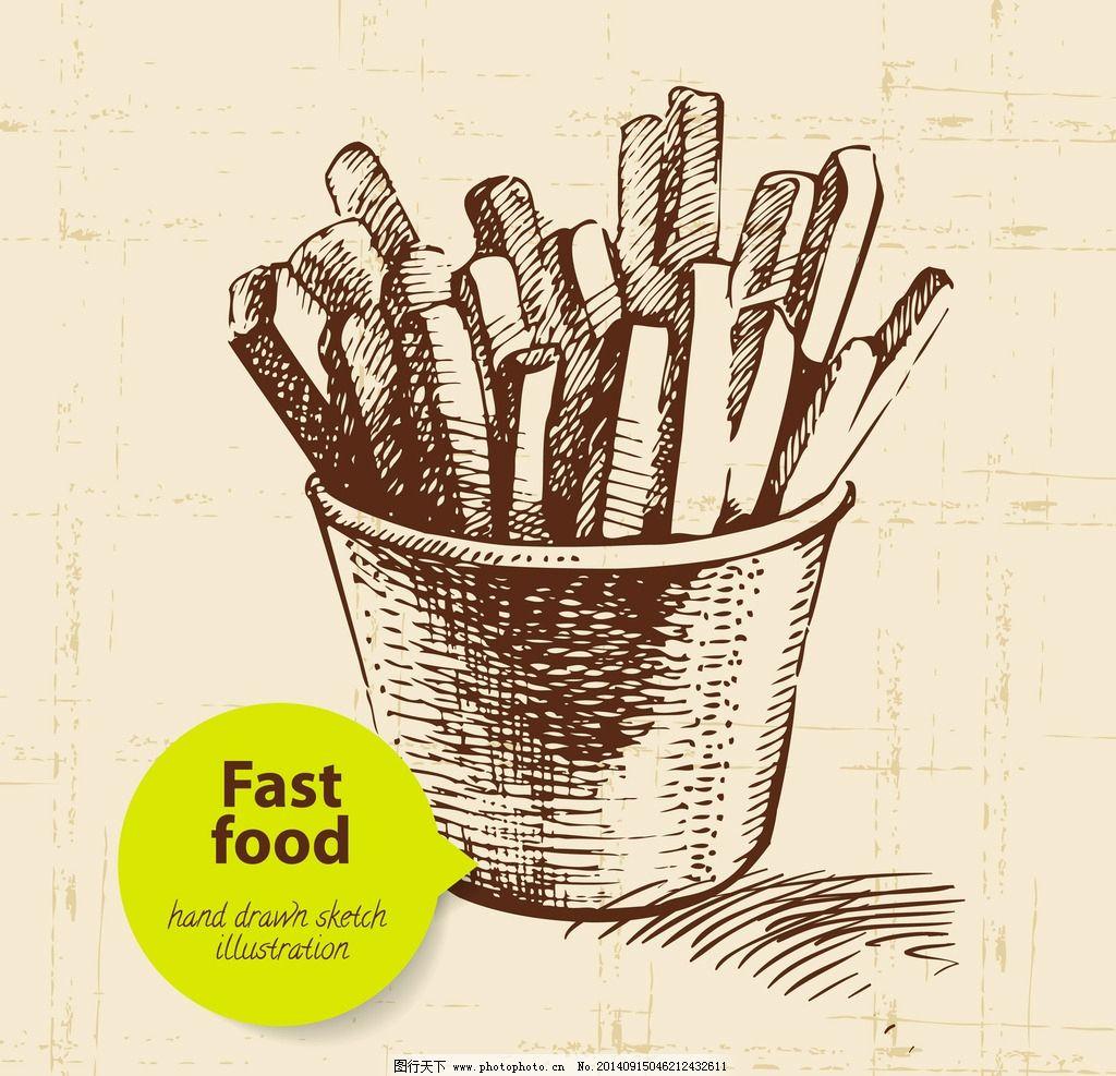 手绘食物 手绘 线稿 快餐 薯条 插画 速写 素描 食物 咖啡厅 西餐图片