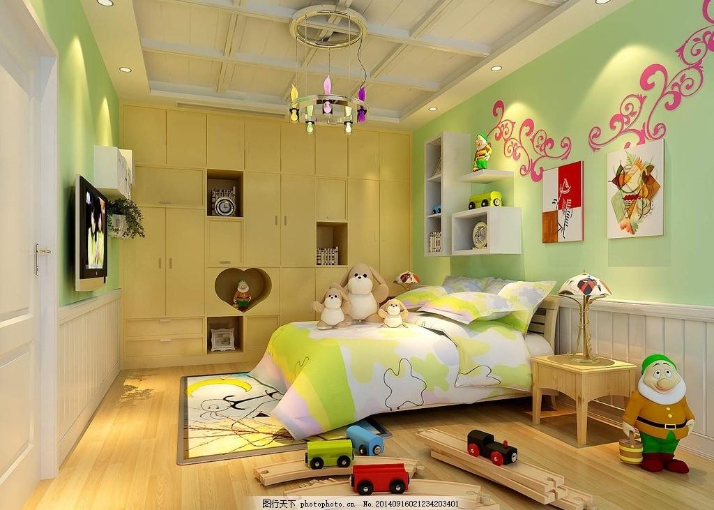 3d儿童房效果图 儿童卧室 温馨 卧室效果图 室内设计 绿色