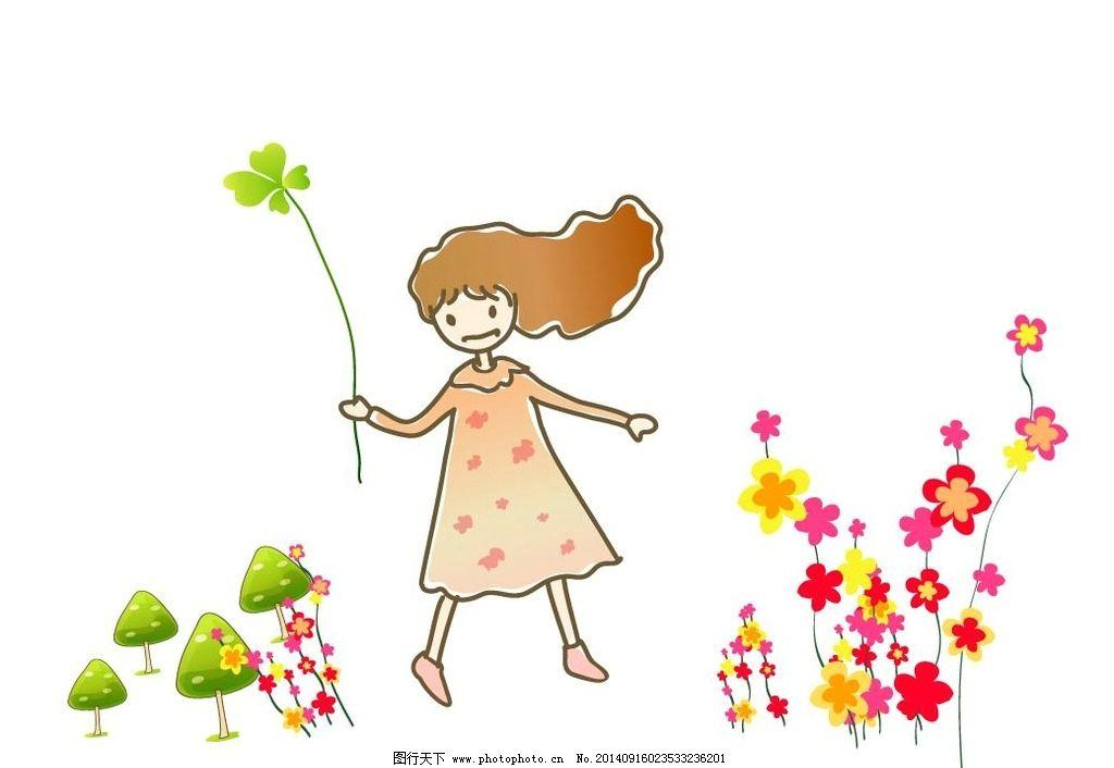 儿童画画女生人物图片