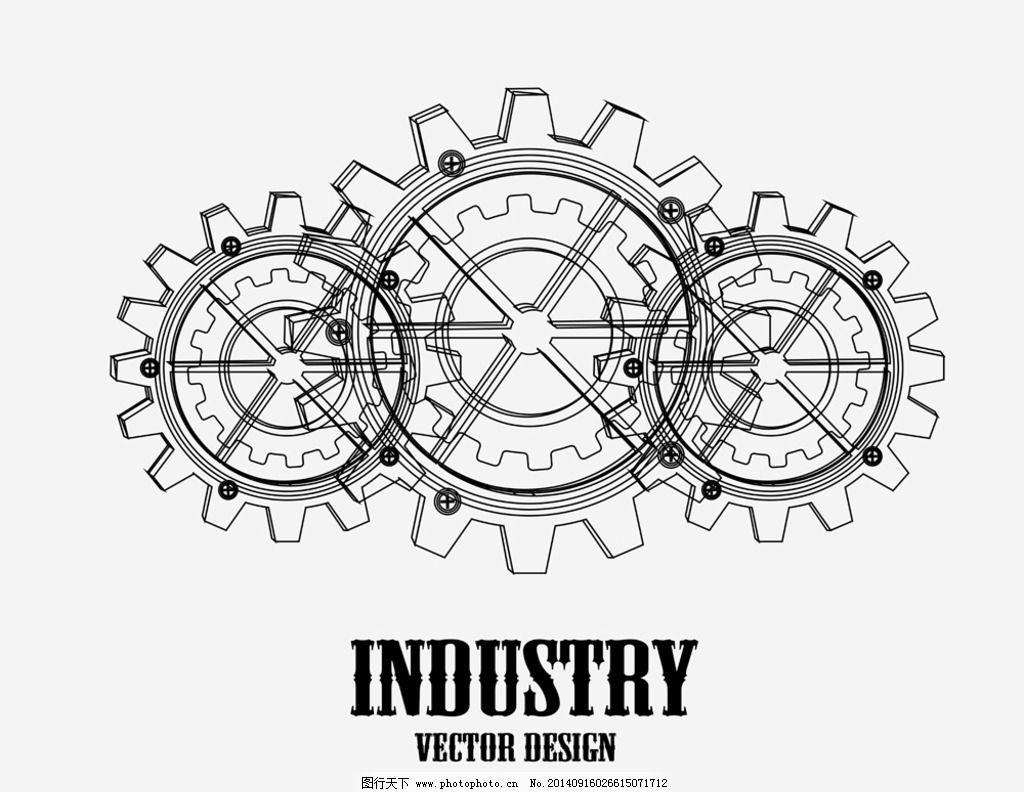 齿轮 齿轮背景 手绘 科技背景