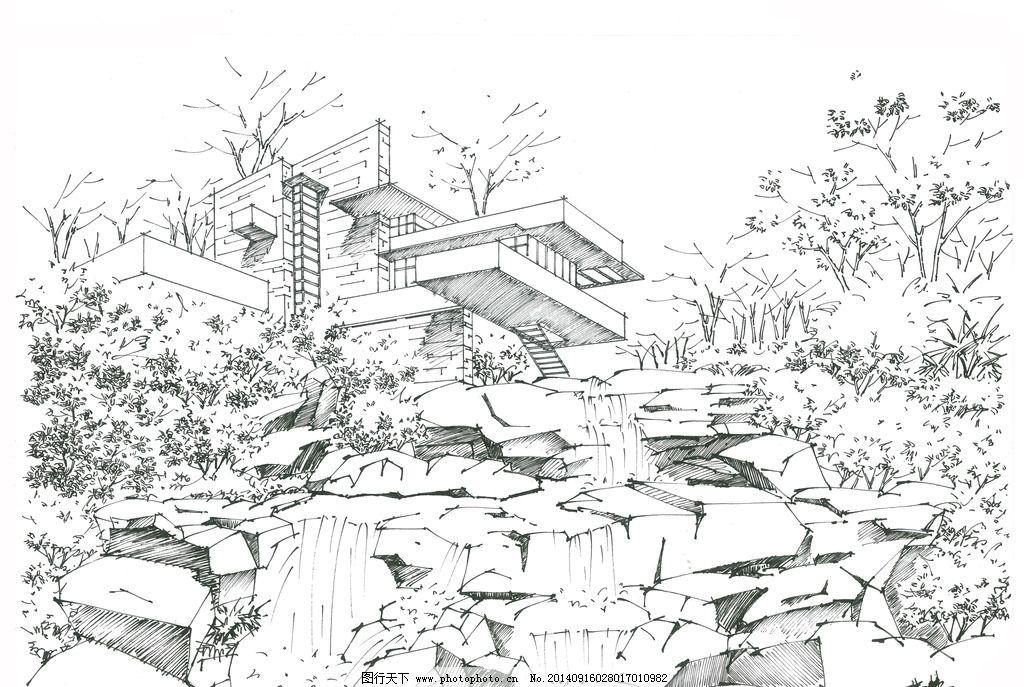 钢笔画手绘 川大锦城 建筑设计
