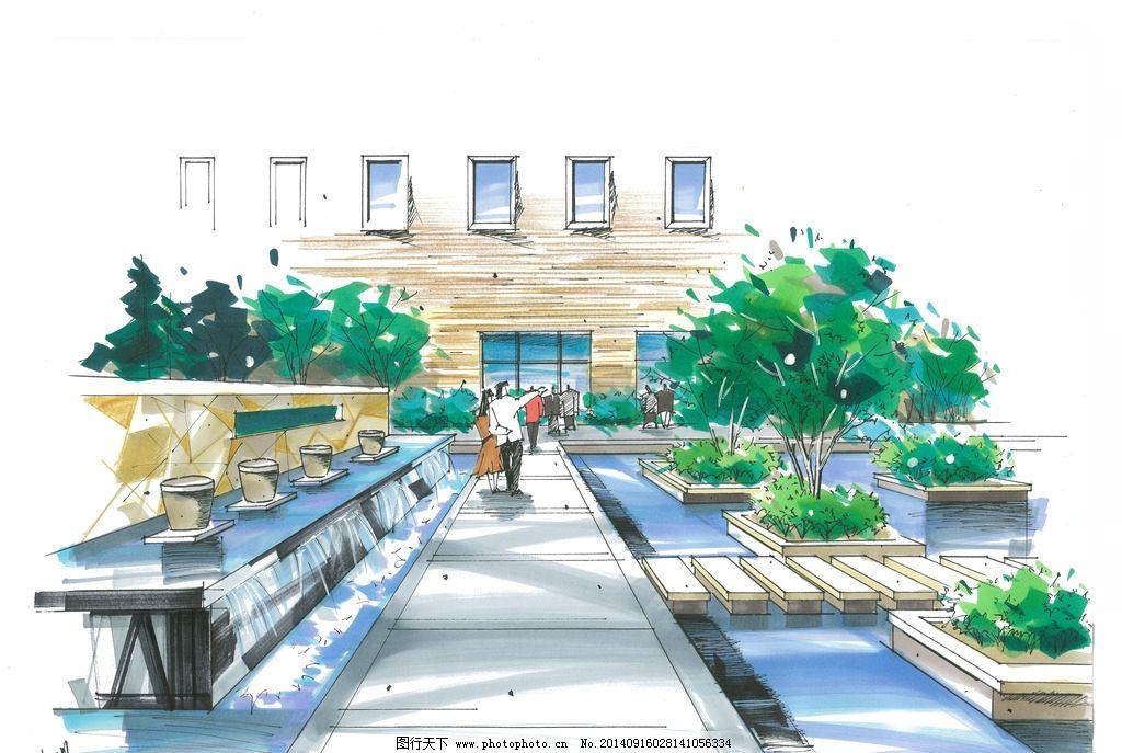 建筑手绘 手绘表现 马克笔表现 马克笔手绘 川大锦城 建筑设计 景观