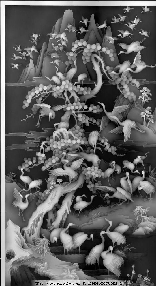 百鹤图 高精度百鹤图 白鹤 松树 花鸟 山水 精雕 传统文化 文化艺术