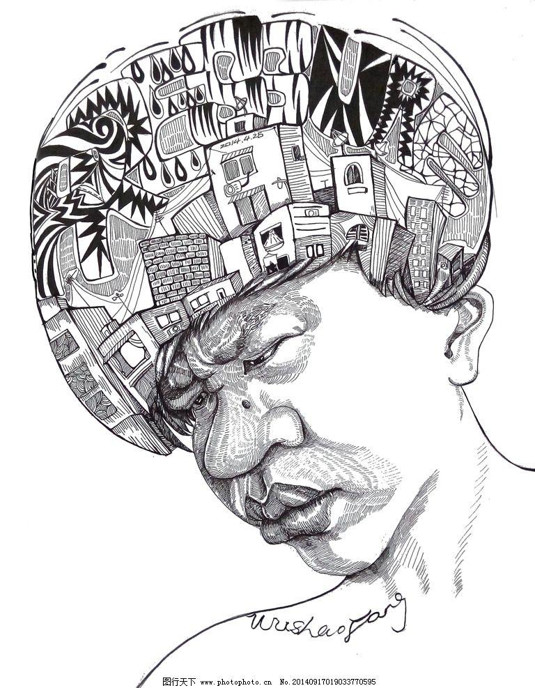 手绘青年 青年人物 设计人物 人物头像 创意头像 绘画书法 文化艺术