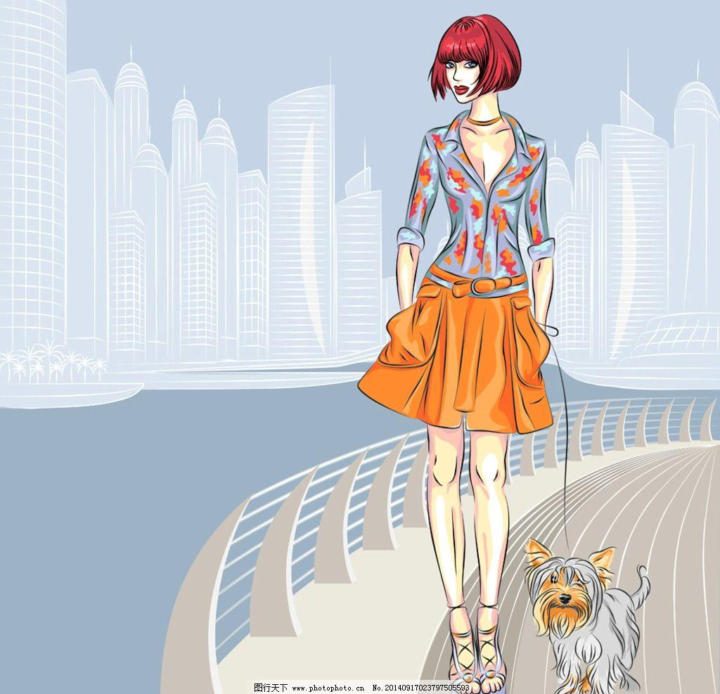 手绘城市建筑 手绘美少女 女孩 女人 美女 时尚 卡通美女 少女 美丽