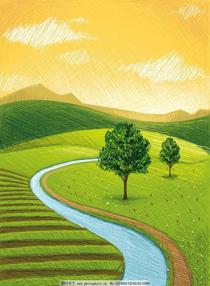 农场图 田园冈 自然风光 插图 牧场 农场广告 牧场广告 自然景观 设计
