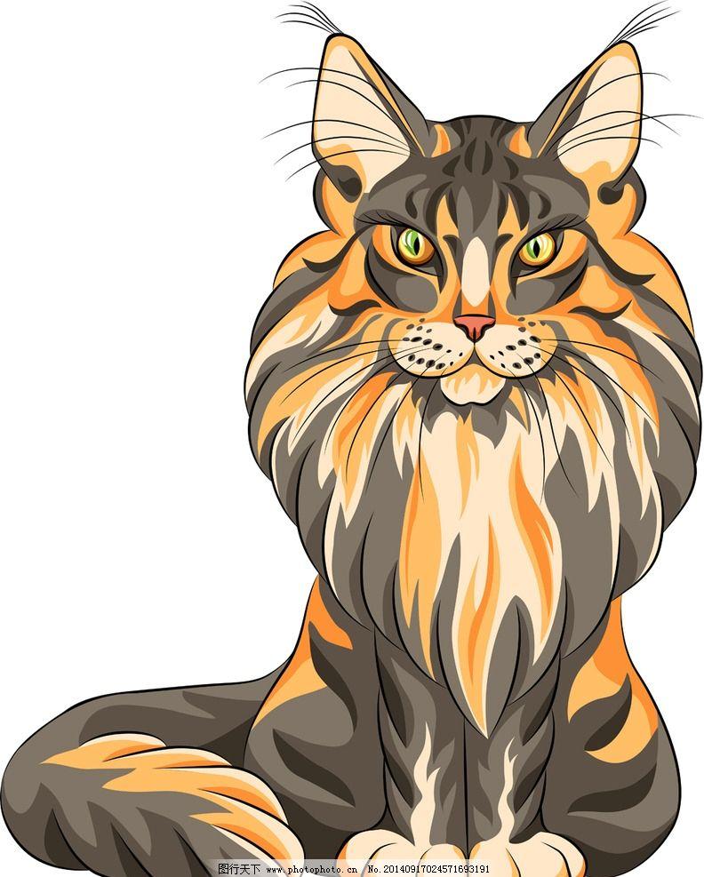 宠物猫 手绘动物 线描 素描 猫咪 手绘猫 矢量 美术绘画