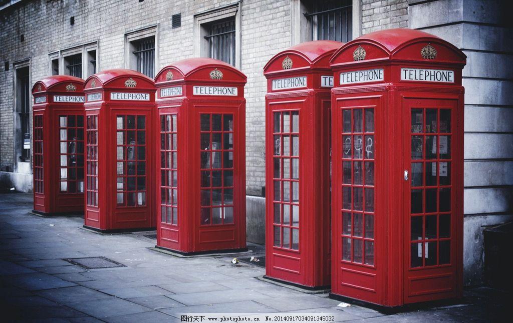 电话亭 老式电话亭 复古 欧式 红色 黑白 城市 城市风光 城市风景