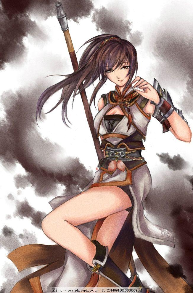 闻人羽 手绘美女 游戏美女 古剑奇谭 战士 武器 游戏壁纸 动漫动画