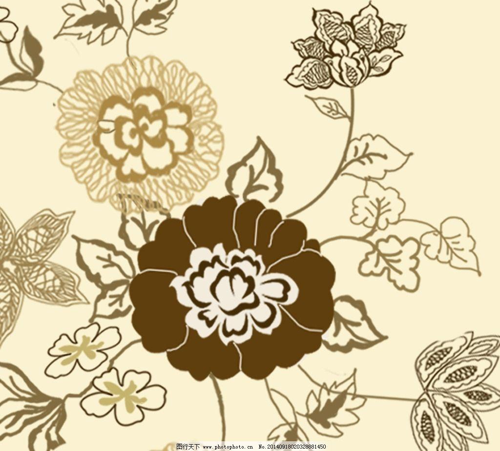 手绘 大花 金色 卷草 玫瑰