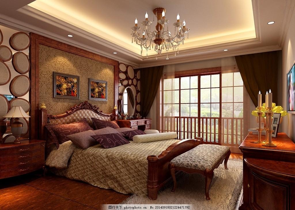 古典卧室效果图 古典房间 欧式 家具 双人床 室内设计