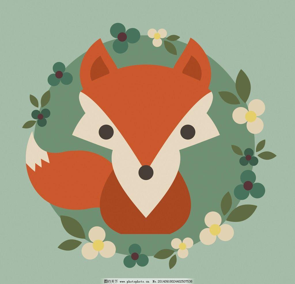 复古手绘小狐狸图片
