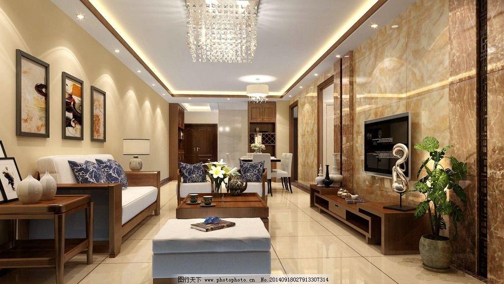 客厅效果图 简中 中式 新中式 现代中式 现代 室内设计 环境设计 设计