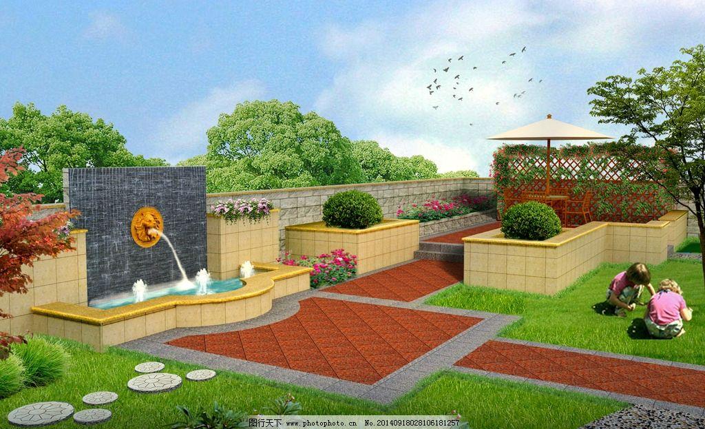 庭院效果图 园林景观 庭院效果 欧式 景墙 喷泉 吐水雕塑 景观设计