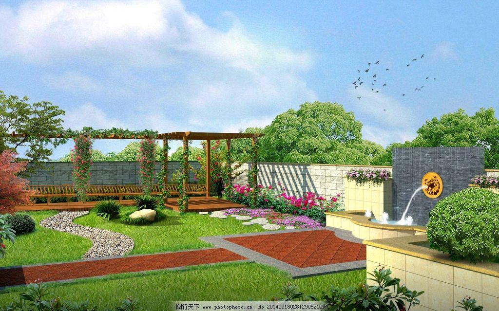 庭院景观 园林景观 庭院效果 欧式 景墙 喷泉 吐水雕塑 景观设计 环境图片
