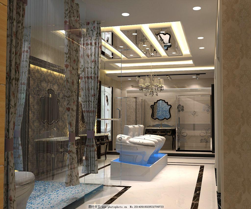 淋浴房效果图 玄关 地面瓷砖 展厅效果图 坐便器 淋浴房 室内设计