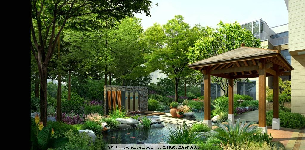 园林一角 会所园林 别墅园林 庭院设计 私家花园 亭子 园林 景墙 水池