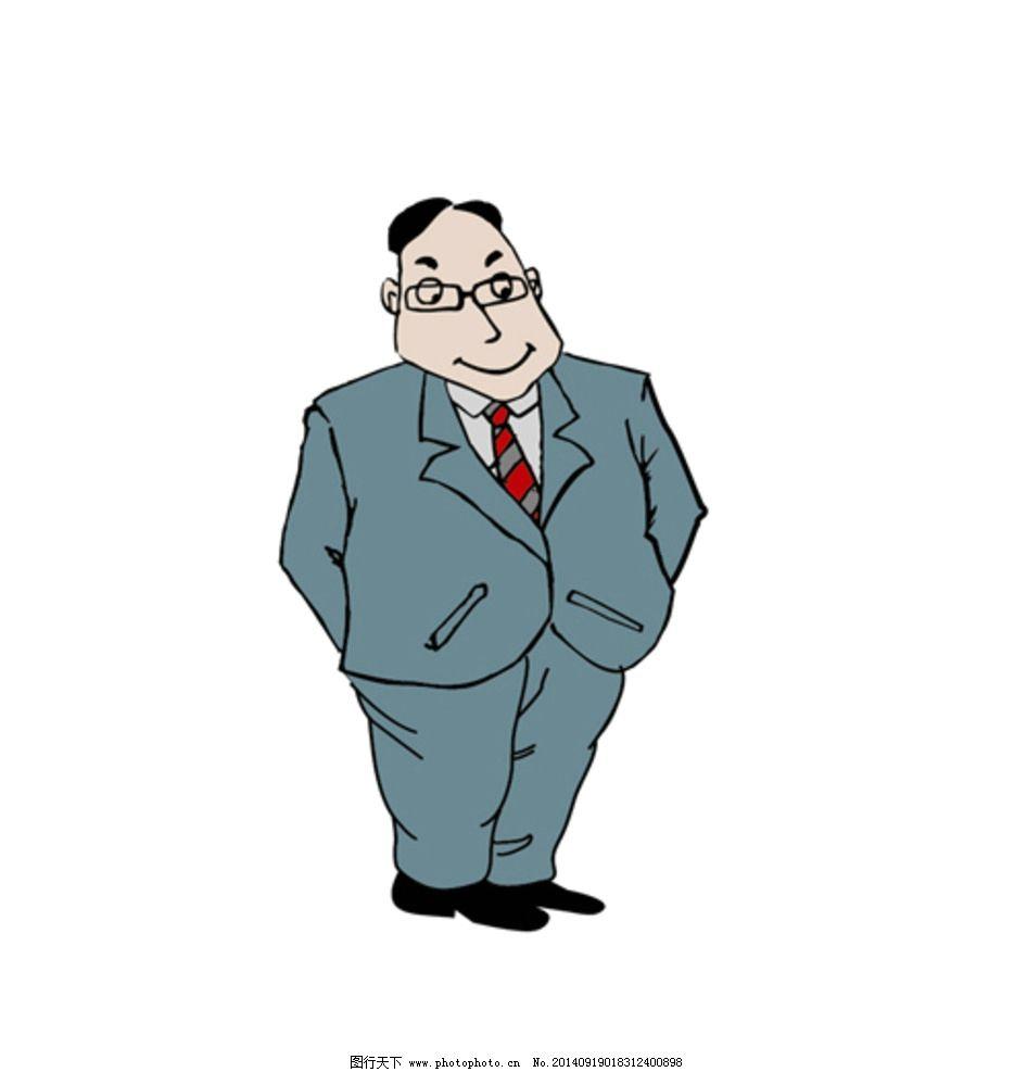 手绘漫画领导矢量图图片