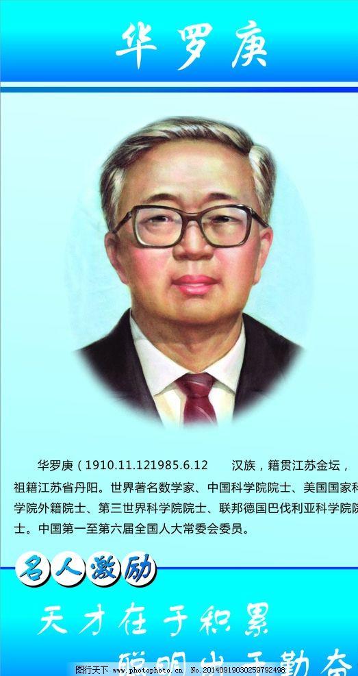 华罗庚 华罗庚简介 名人名言 名人简介 数学家 蓝色背景 设计 广告