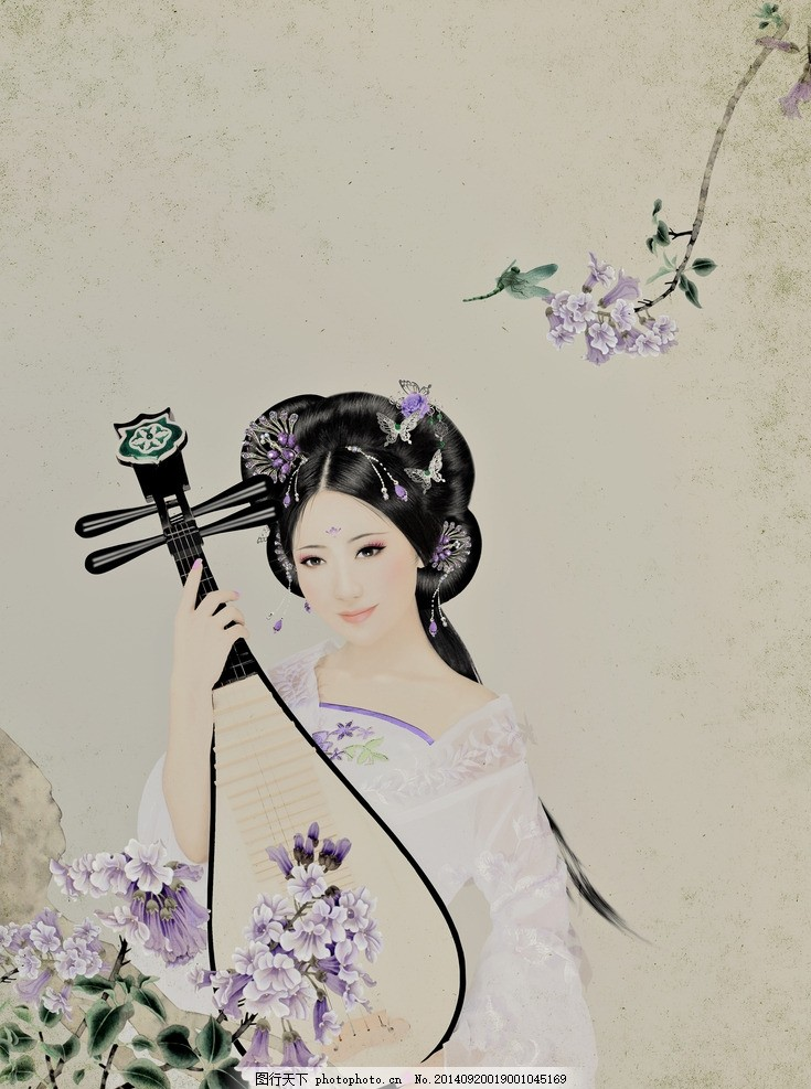 古装美女 绘画风格 影楼写真 琵琶 花卉 仿绘画风格 绘画风格的古装