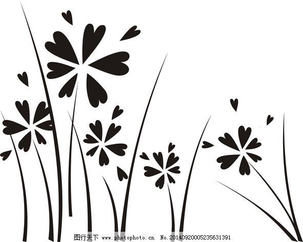 矢量黑白花图片