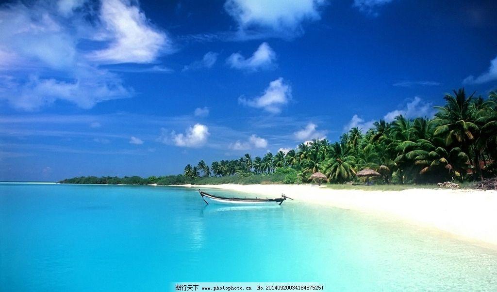 沙滩椰林小船图片