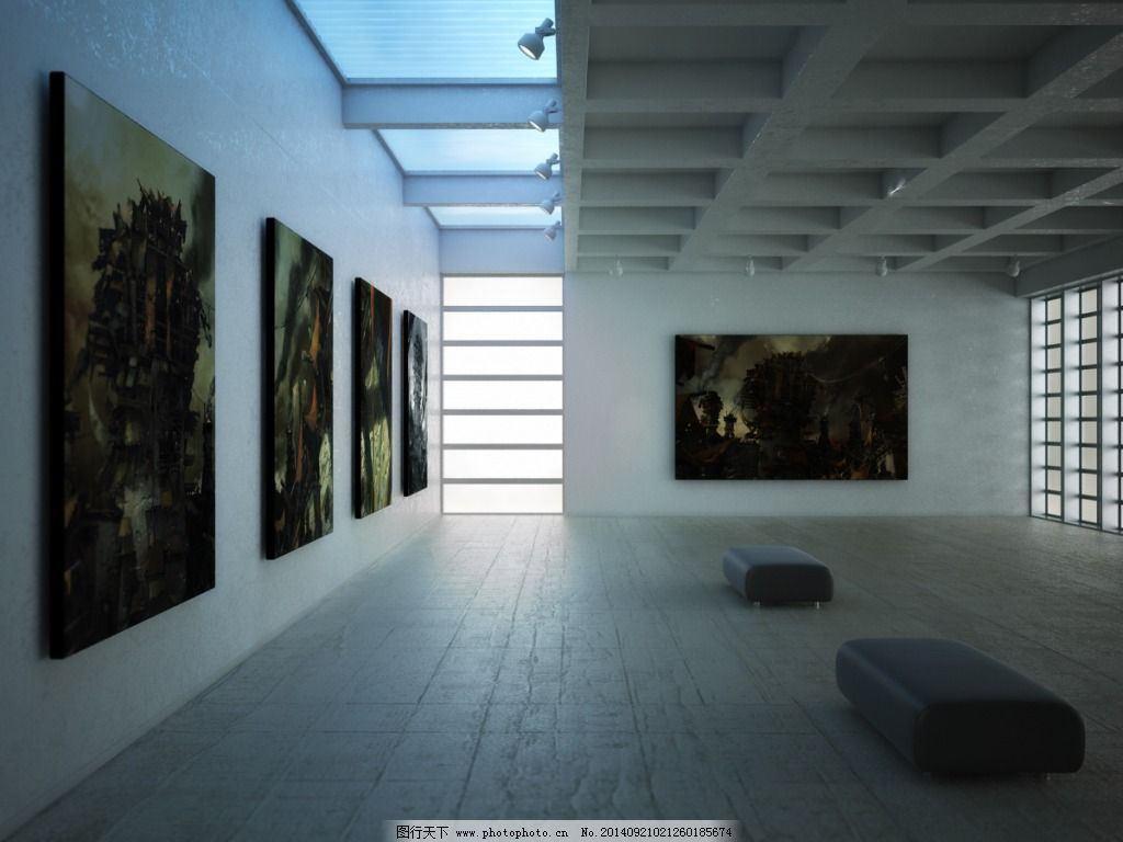 艺术展厅免费下载 画展 模型 艺术 模型 艺术 画展 3d模型素材 室内图片