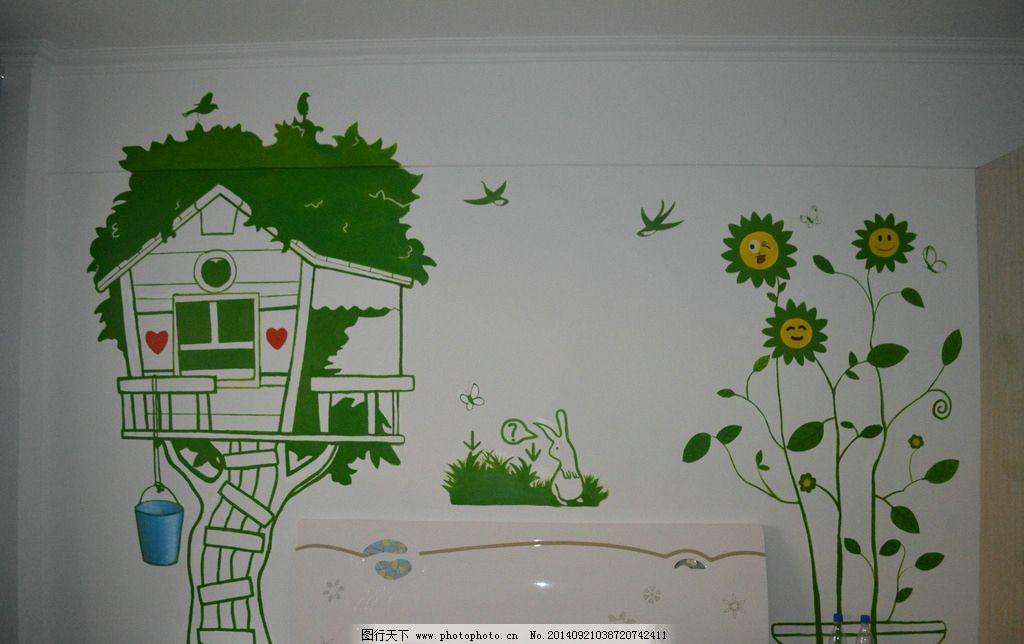 手绘墙小清新儿童房图片