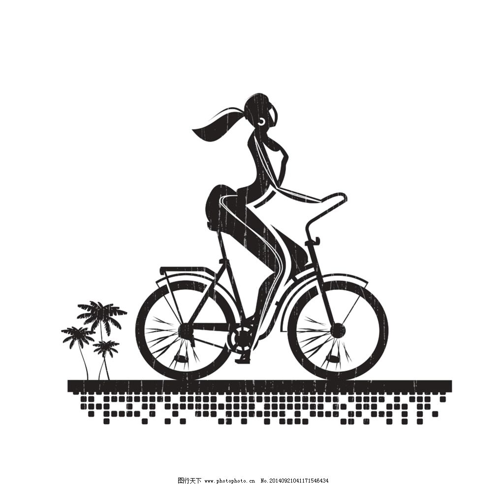 骑自行车卡通人物图片