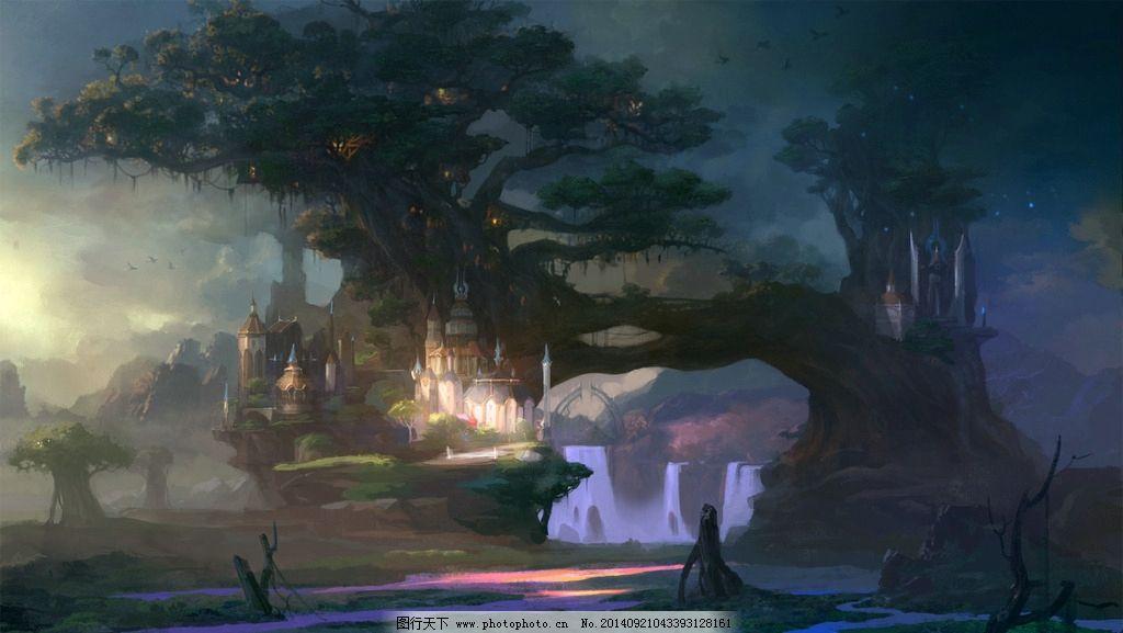 古风cg场景图片,原始森林 场景原画 风景漫画 动漫-图
