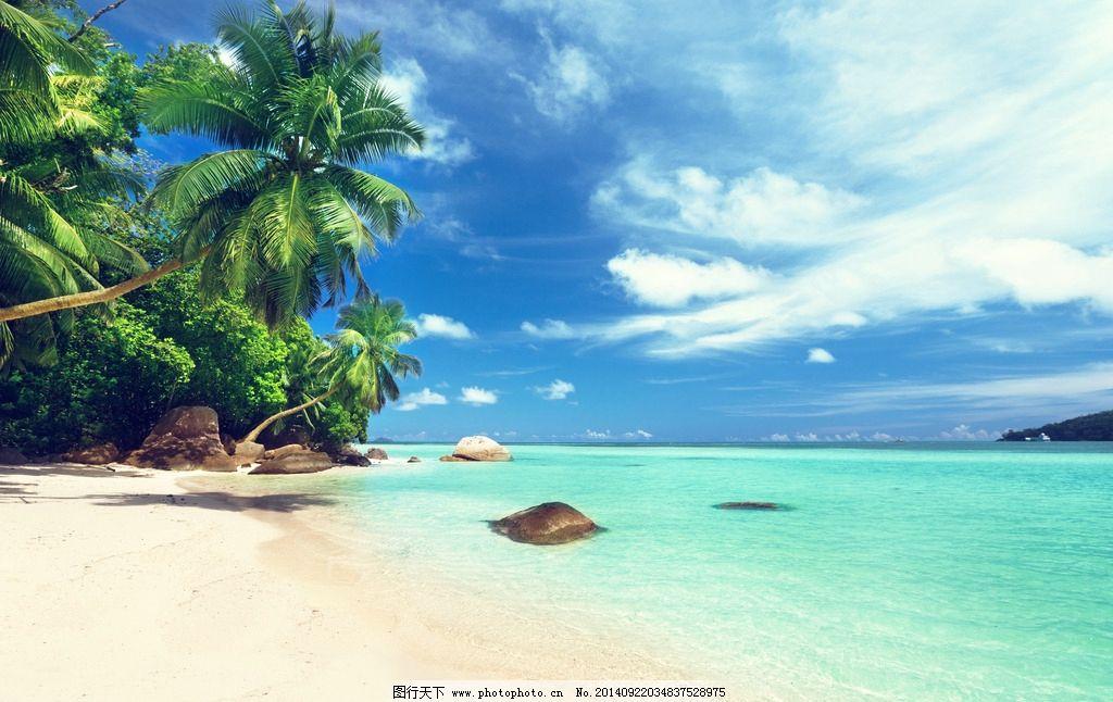 海边 蓝天白云 天空 海边椰树 夏日海滩 海滩风光 大海 沙滩 海滩椰树