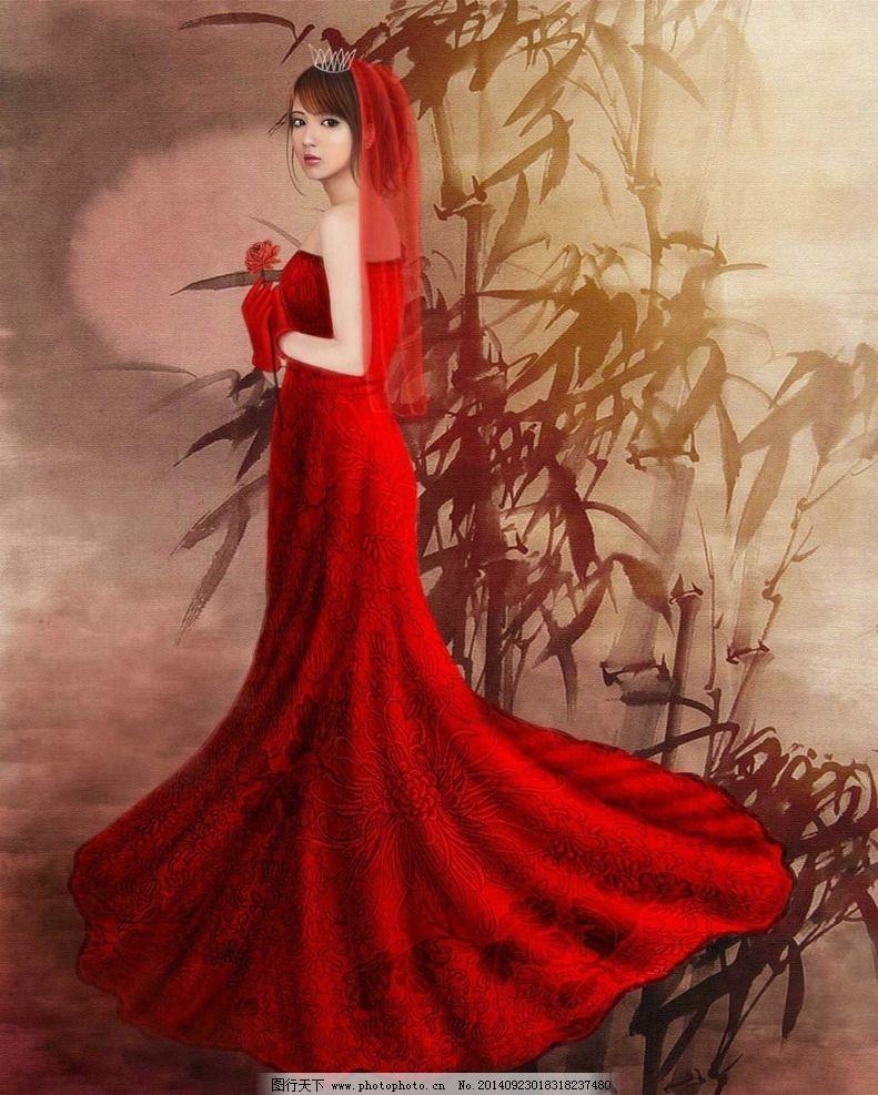 古装婚纱铅笔手绘图片