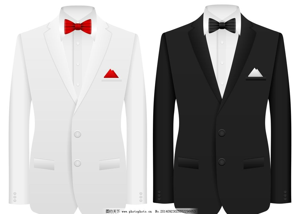 西服 高档 服饰 衬衫 领结 手绘 男士服装 矢量 职业服装