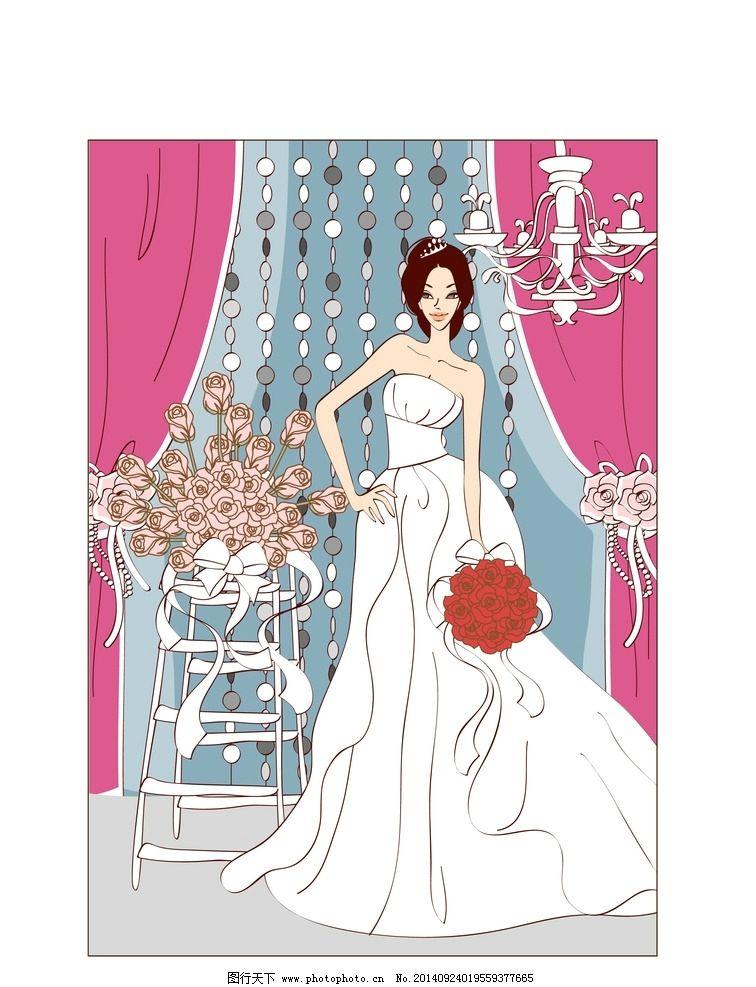 卡通 婚纱 新娘 美女 花