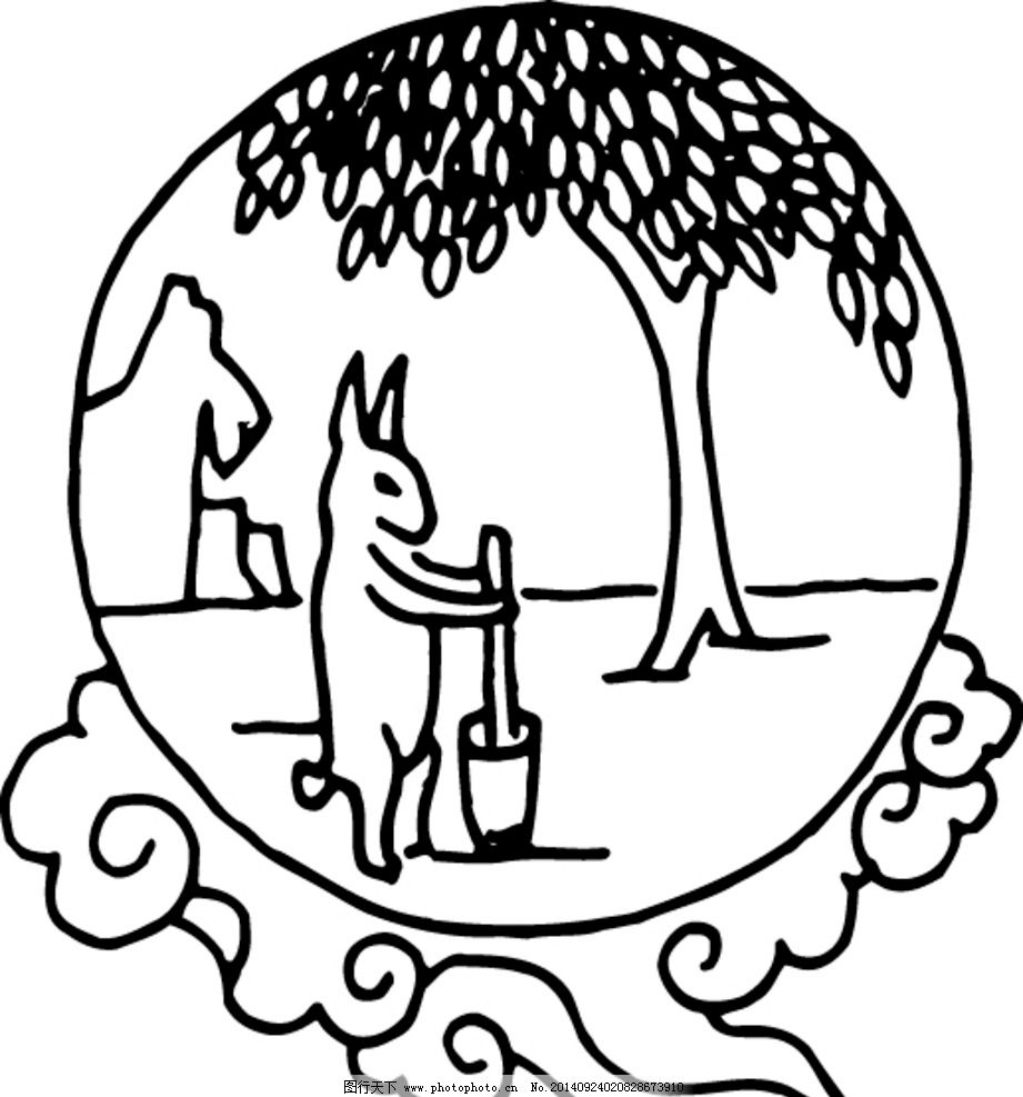 兔子 祥云 动物 吉祥图腾 印花 花纹 窗花 剪影 中国吉祥图腾 古色古