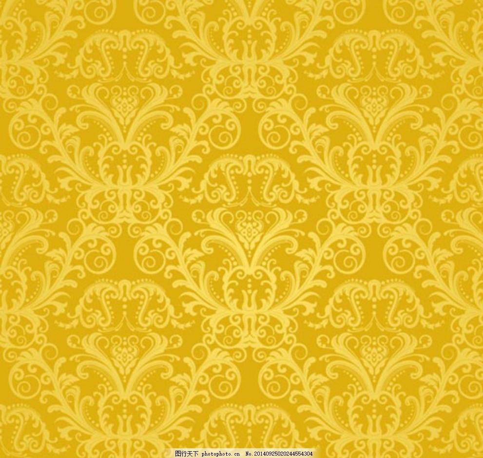 时尚欧式黄色花纹背景
