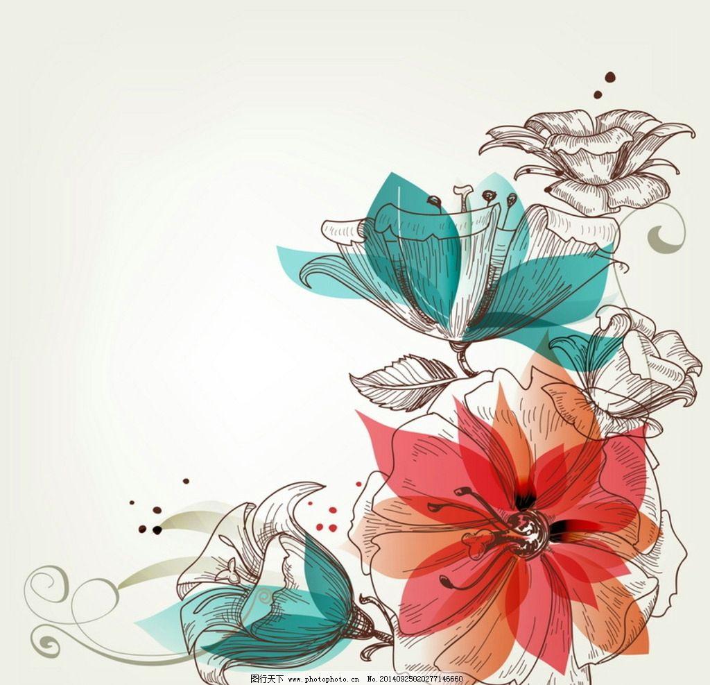手绘鲜花背景图片