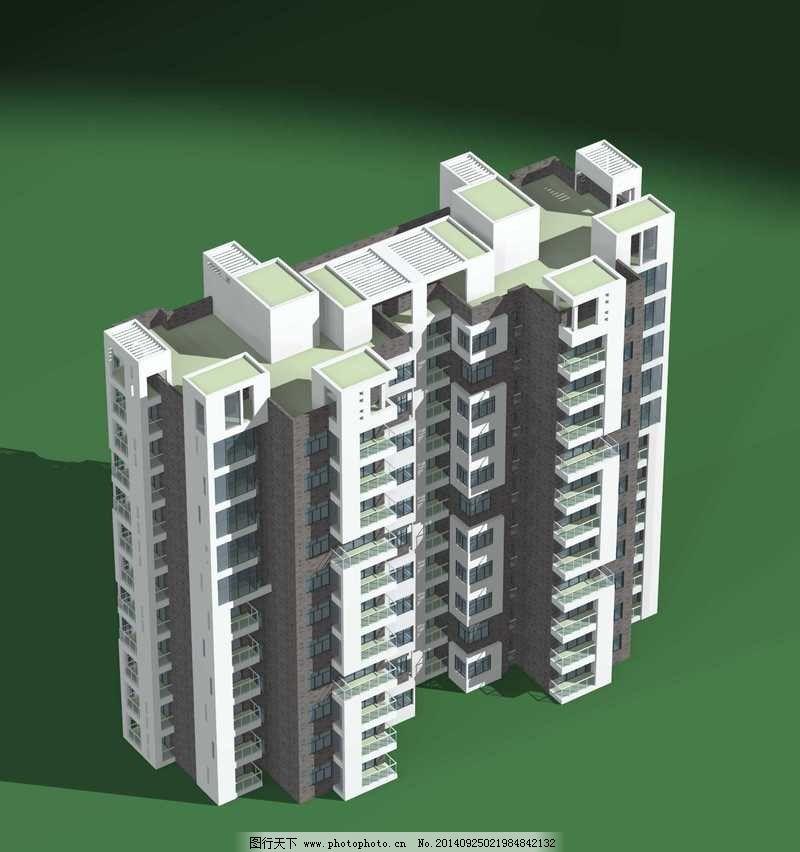 高层塔式双联住宅楼模型