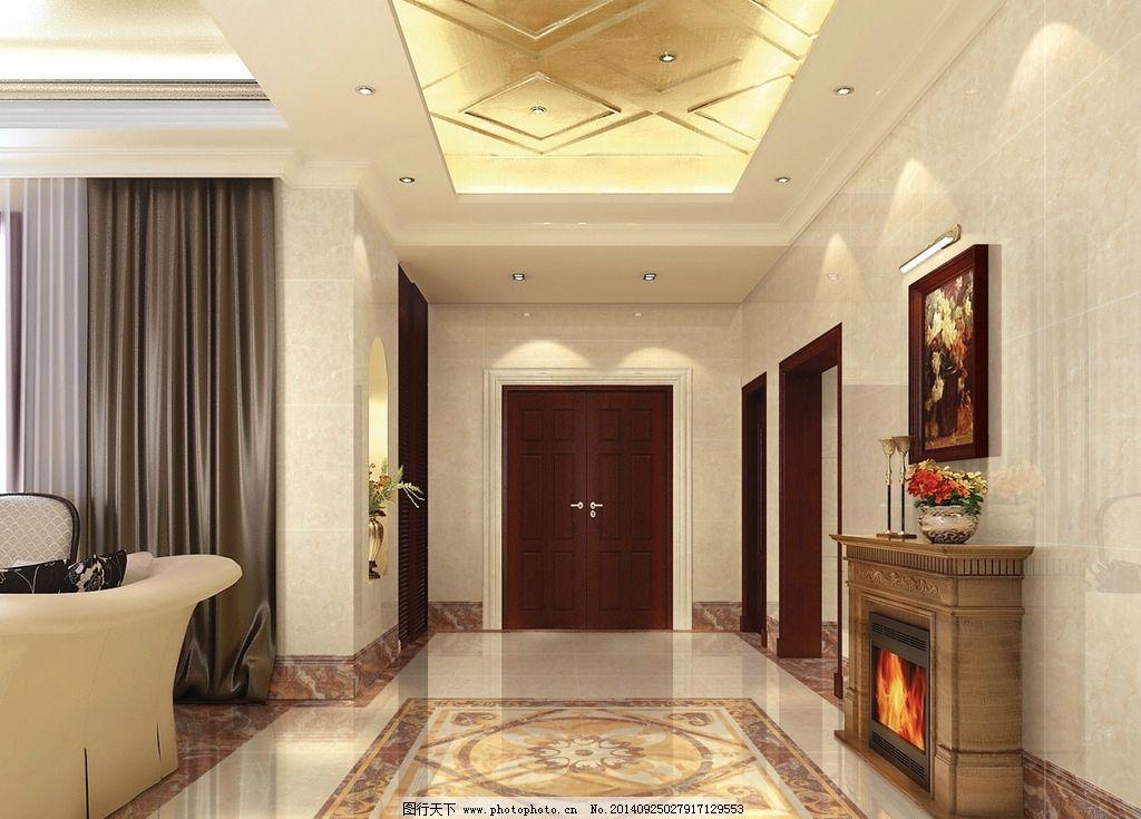 走廊 石材拼花 壁炉 欧式客厅走廊 棚面图 设计 环境设计 室内设计图片