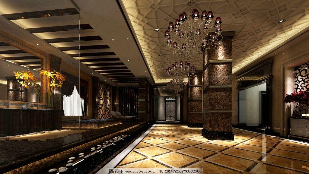 大厅拼花 生态木吊顶 欧式吊顶 瓷砖拼花图 柱子石材 设计 环境设计图片