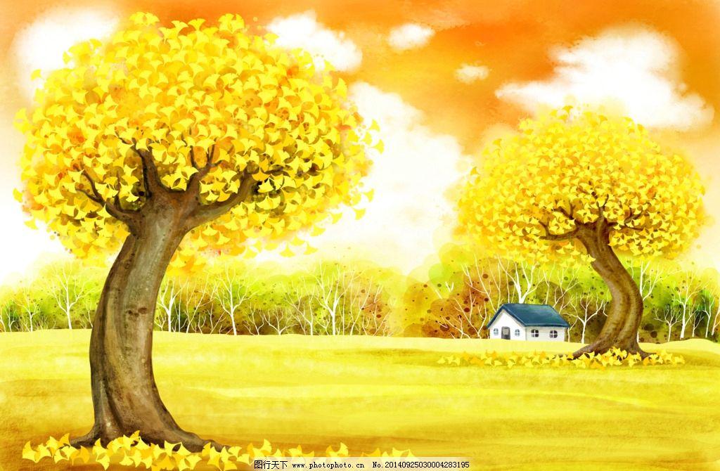 童话世界 梦幻背景 抽象海报 树林 手绘海报 秋天主题素材 唯美树木